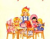 A Little Girls Tea Party Vintage Greetings Card Digital Download Printable Images (91)