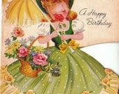 Vintage 1940s UNUSED A Birthday Message  British Greetings Card (B4)