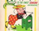 Vintage 1940s Belated Birthday Greetings DOLLAR Greetings Card (B73)