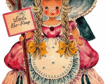 Little Bo Peep 1940s Vintage Greetings Card Digital Download Printable Image (50)