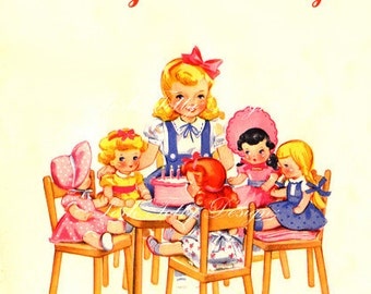 A Little Girls Tea Party Vintage Greetings Card Digital Download Printable Images (91)