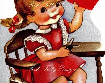 A Little Girls Valentines Heart Digital Download Printable Image (93)