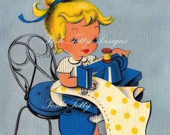 A Little Girl Dressmaking Vintage Digital Download Printable Images (135)