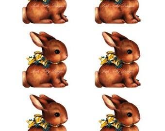 1940s Vintage Easter Bunnies Digital Download Printable Image Sheet (151)