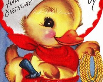Duckling Cowboy Happy Birthday Daddy 1950s Vintage Greetings Card Digital Printable Download Images (152)