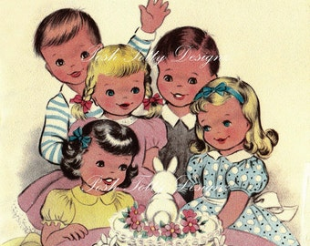 A Children's Celebration 1940s Vintage Greetings Card Digital Download Printable Images (157)
