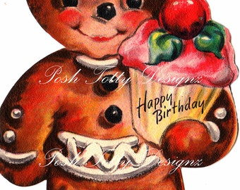 Gingerbread Men and Cupcakes Vintage Digital Download Printable Image (181)