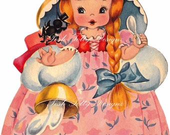 Little Miss Muffet Greetings Card Vintage Digital Download Printable Image (189)