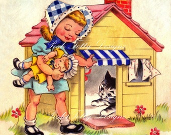 The Playhouse 1940s Vintage Greetings Card Digital Download Printable Images (215)