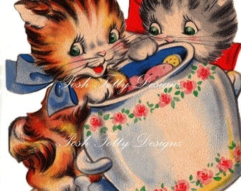 Cookies and Kittens Vintage Digital Download Greetings Card Images (223)