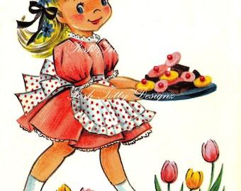 Look Who's Been Baking 1950s Vintage Digital Greetings Card Download Printable Images (235)