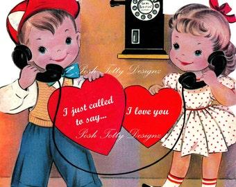 Love On Line Vintage Digital Greetings Card Download Printable Images (237)