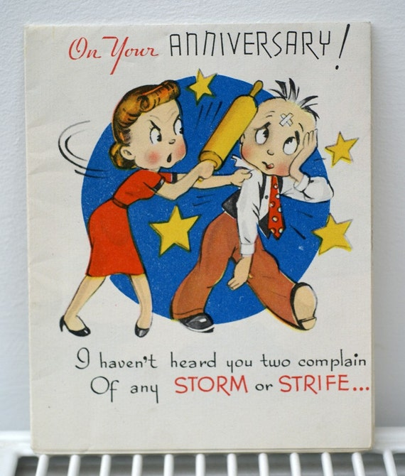 sale vintage on your anniversary 1940s greetings card
