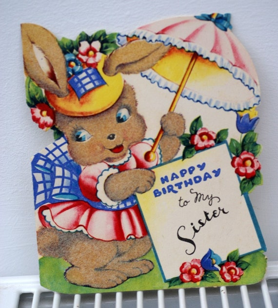 Vintage Happy Birthday To My Sister 1948 Rabbit Bunny