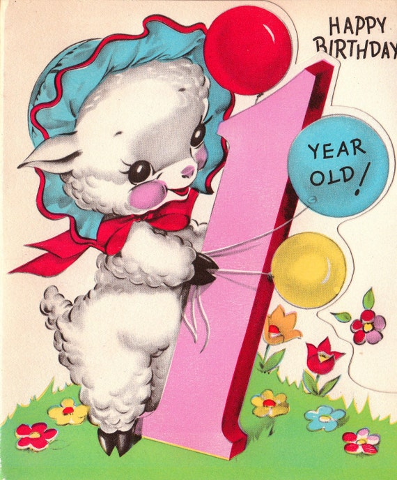 Vintage 1950s Happy Birthday 1 Year Old Greetings Card B23 – Birthday Greetings for 1 Year Old