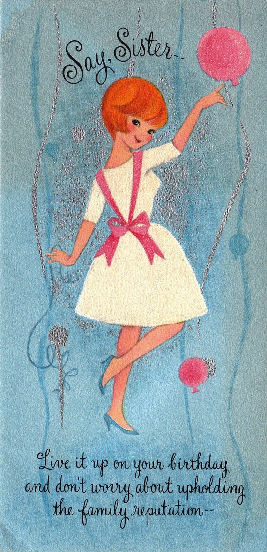 Vintage Birthday Wishes For Sister ~ Vintage hallmark s say sister birthday greetings card