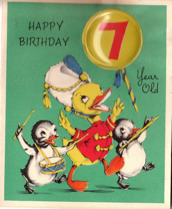 Vintage 1950s Happy Birthday 7 Year Old Greetings Card B41
