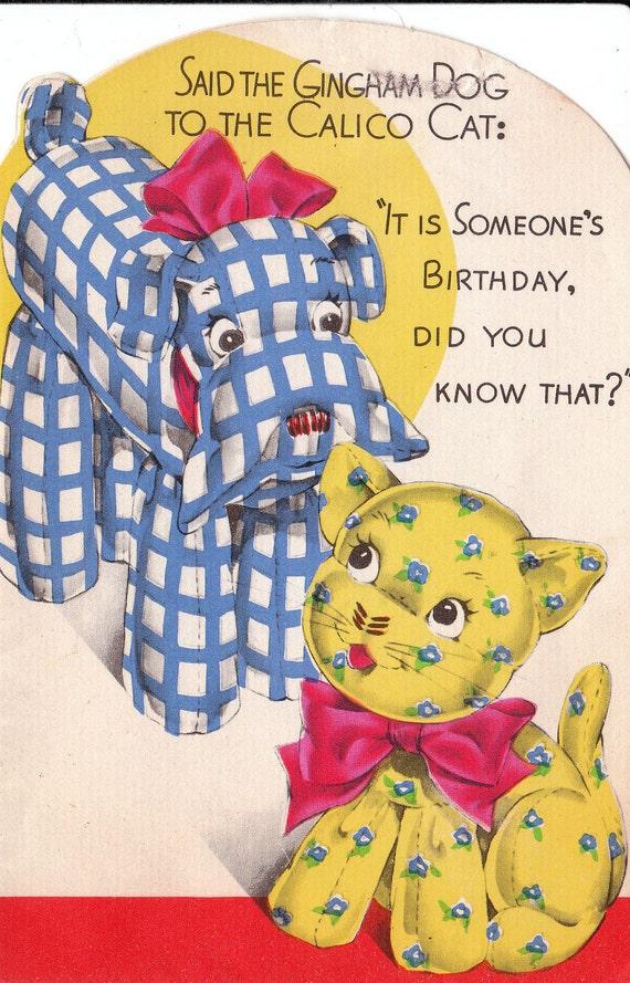 SALE Vintage 1930s Art Deco Greetings Birthday Card (B44a)