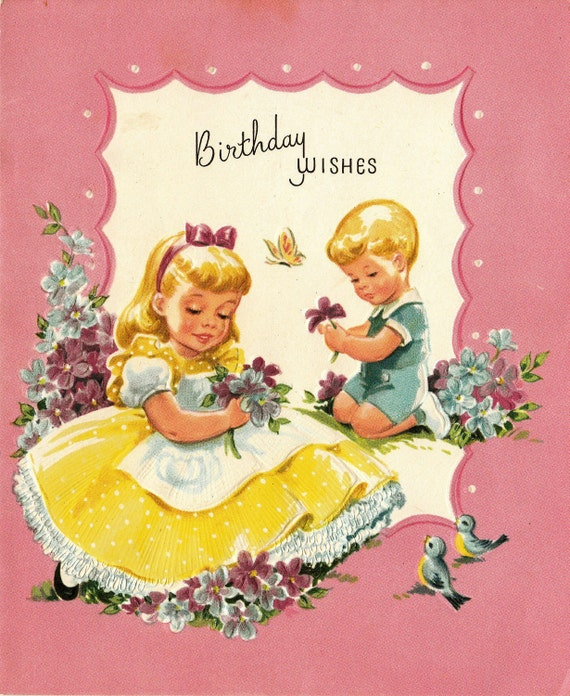 Vintage 1960s Birthday Wishes Religious Greetings Card (B45)