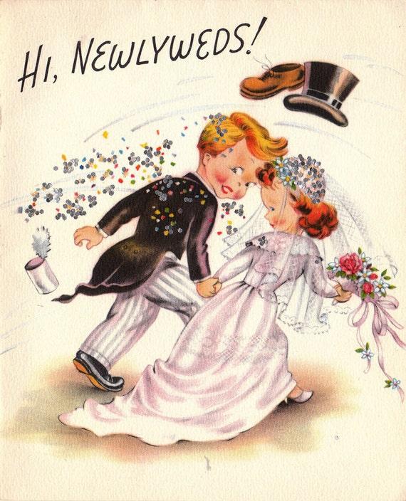 Vintage Wedding Card Unused Greeting Card 1960s 1950s: Vintage 1950s Hi Newlyweds Greetings Card B63a By