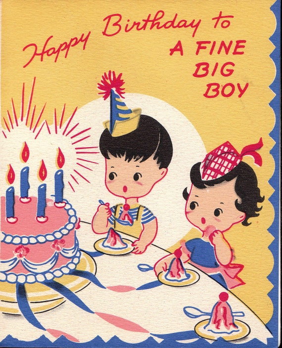 Vintage Wedding Card Unused Greeting Card 1960s 1950s: Vintage 1950s UNUSED Happy Birthday To A Fine By