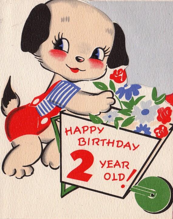 vintage 1952 unused happy birthday 2 year old greetings card