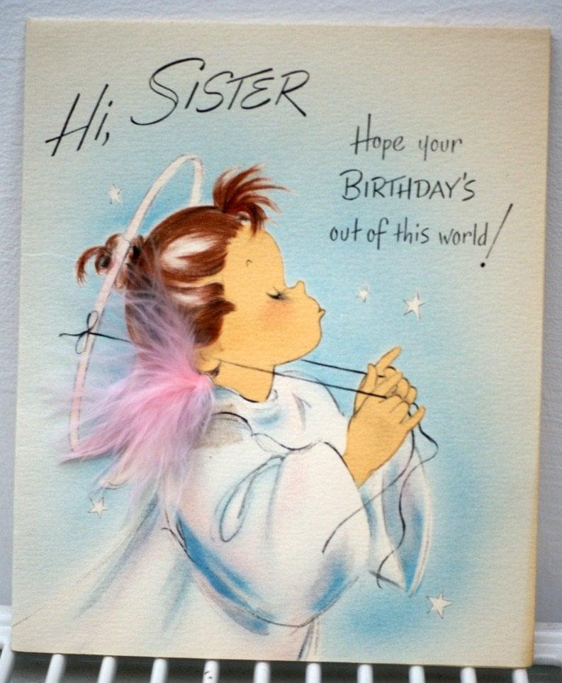 Vintage 1950s Hi Sister Happy Birthday By Poshtottydesignz