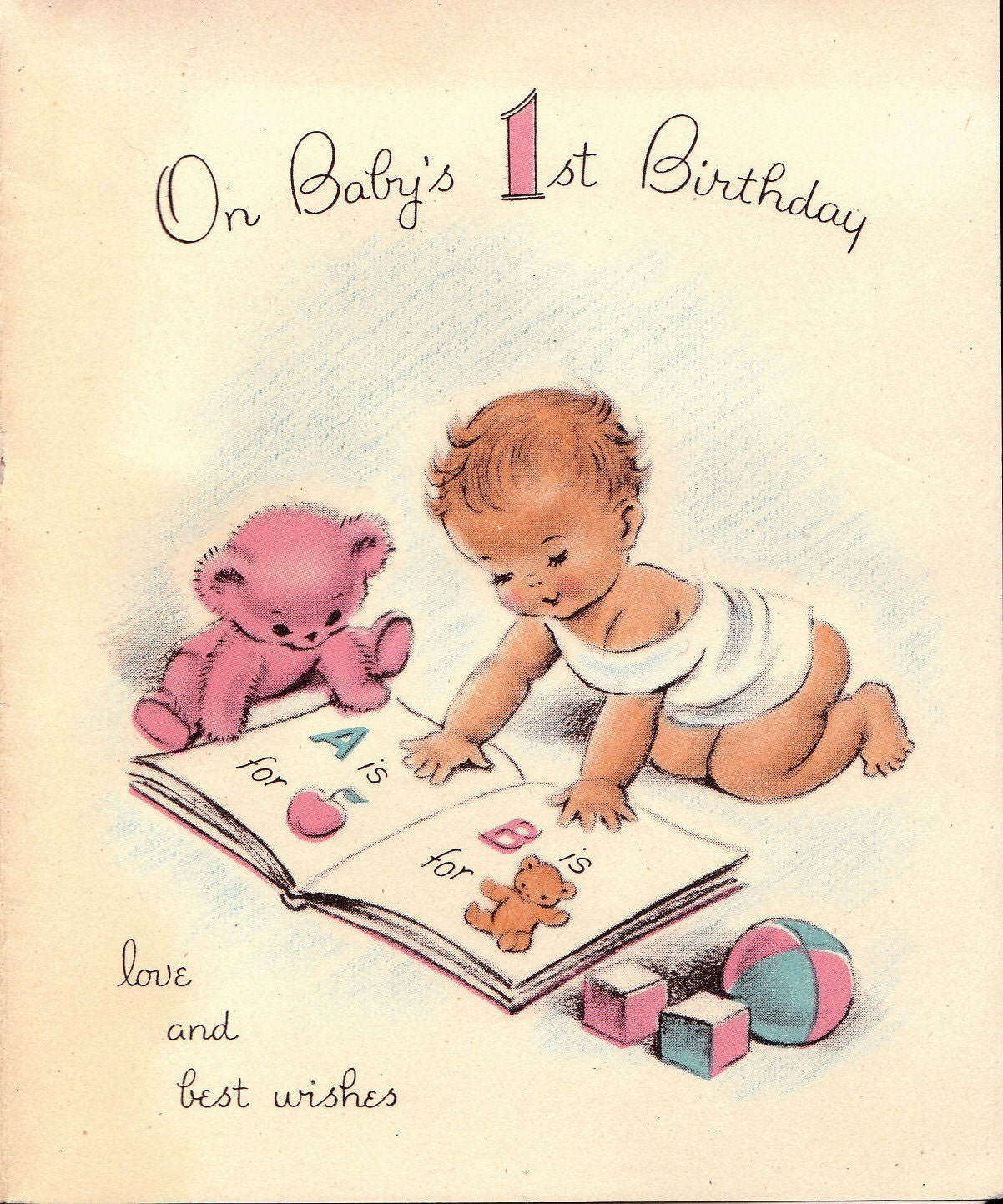 Images Of Vintage Girls First Birthday Card: Vintage 1950s On Babys 1st Birthday Greetings Card B29