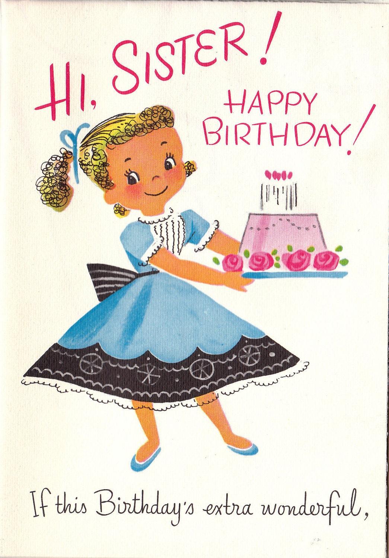 vintage 1960s hi sister happy birthday greetings card b35