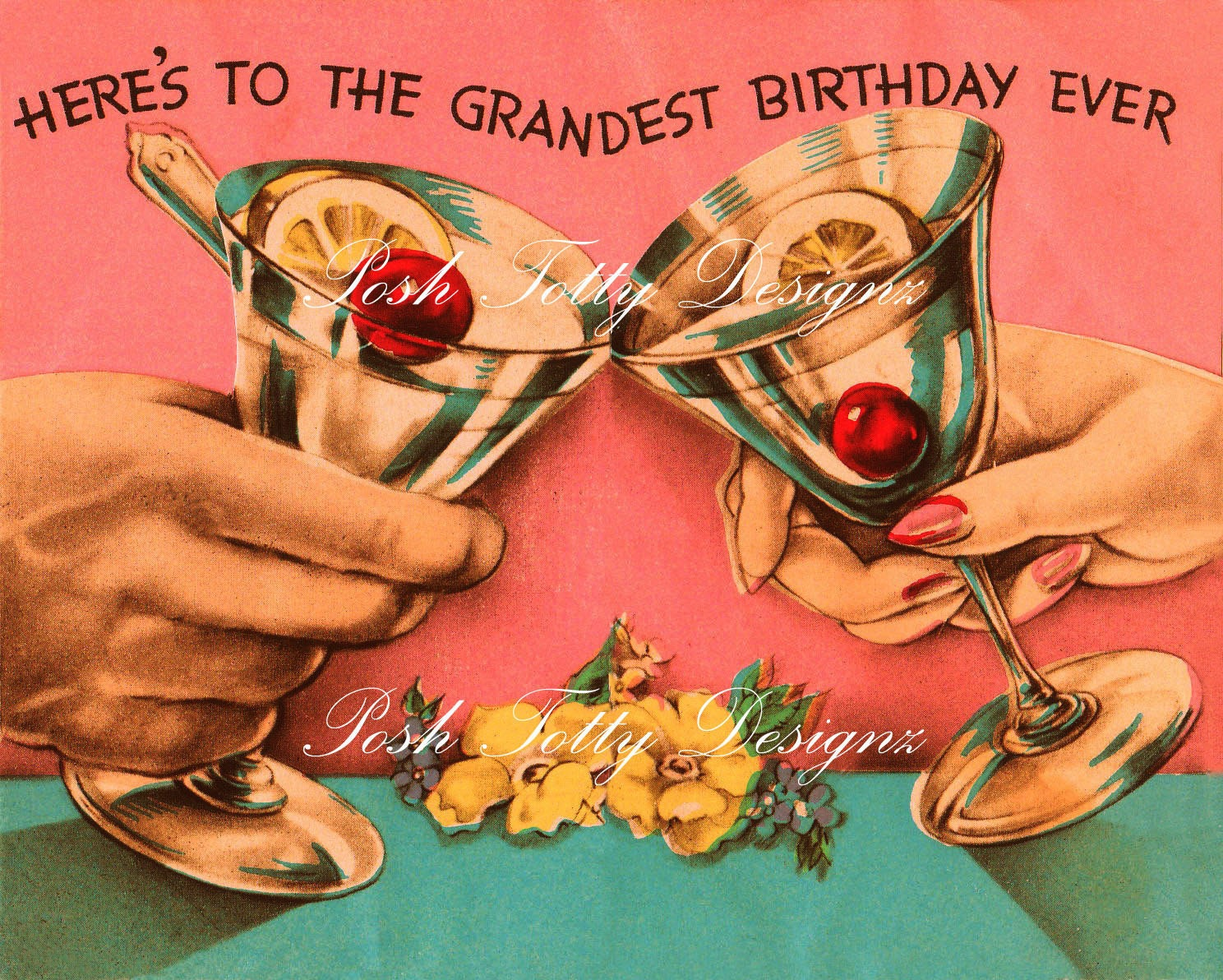 Vintage 1930s Birthday Cocktail Art Deco Greetings Card