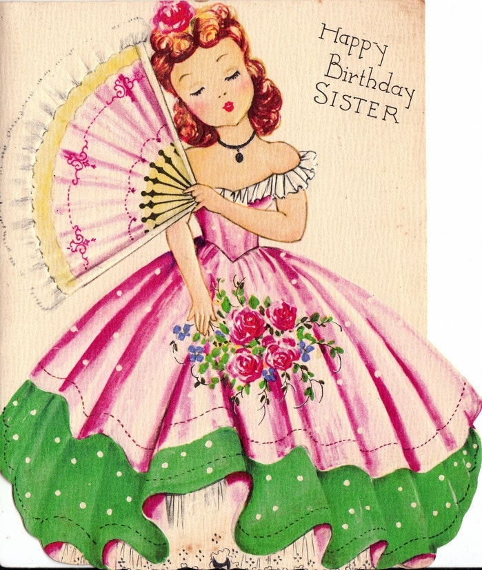 Vintage 1950s UNUSED Happy Birthday Sister Greetings Card