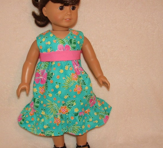 american girl doll hawaiian dress sale by sewgrandmacathy on etsy. Black Bedroom Furniture Sets. Home Design Ideas