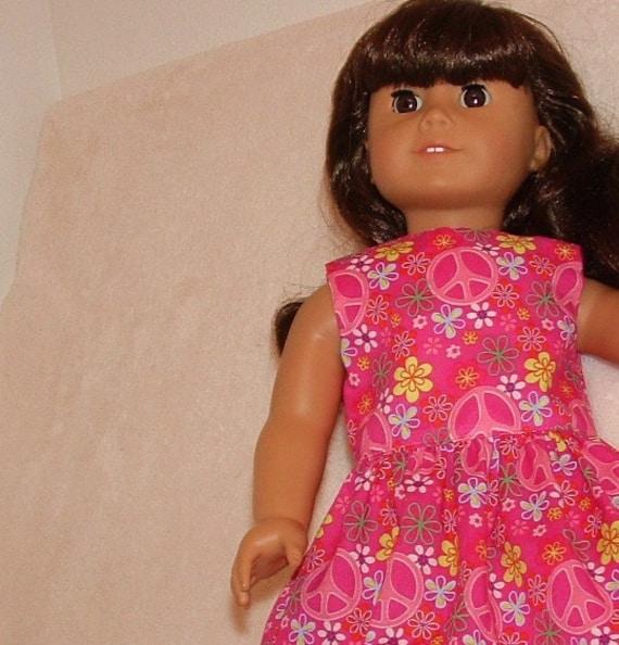 American Girl Doll Handmade Dress Pink Peace and Daisy Medley SALE