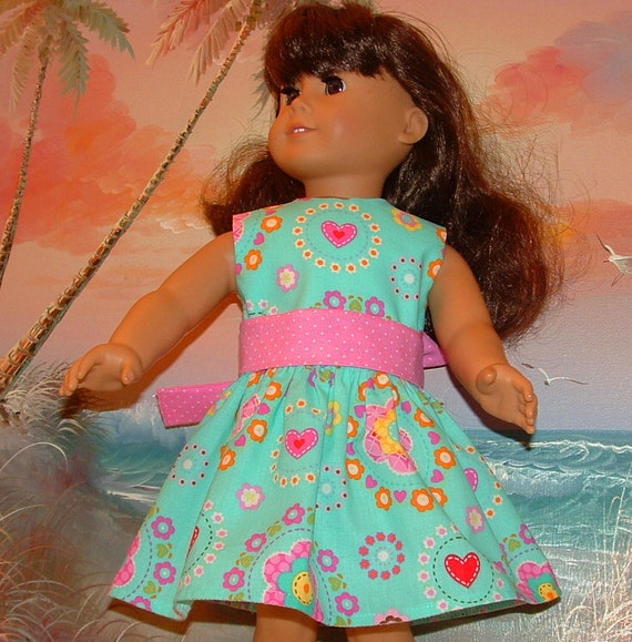 American Girl Doll Dress Turquoise Pink Heart Mod Medley SALE