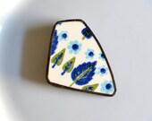Broken Plate Brooch - Blue and Green Swiss Chalet - Recycled China