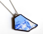 Broken Plate Pendant on Chain - 1971 NASA Goddard Space Station- Recycled China