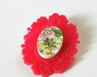 SALE Broken China  Brooch - Pink Floral French Brocade
