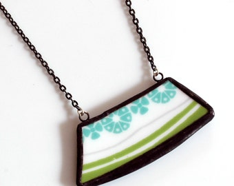 Wide Broken Plate Necklace - Modern Teal and Green - Recycled China