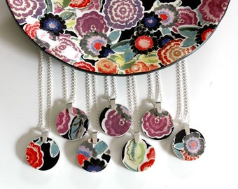 Custom Bridesmaid Jewelry -  Matching Simple Circle Broken Plate Pendants on Chains 5QTY - Recycled China