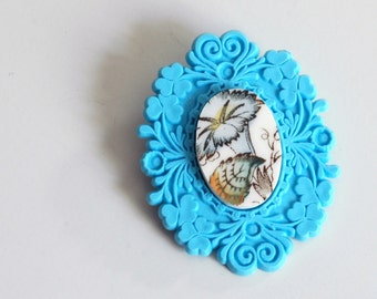 SALE French Brocade Recycled China Brooch - Blue Floral on Turquoise