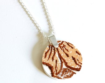 Simple Circle Broken China Jewelry  - Orange and Brown