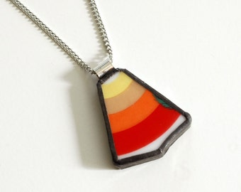 Broken China Jewelry Pendant - Red Orange Yellow Rainbow