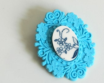 SALE  French Brocade Recycled China Brooch - Blue Onion