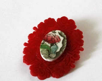 SALE Red Floral French Brocade Broken China  Brooch