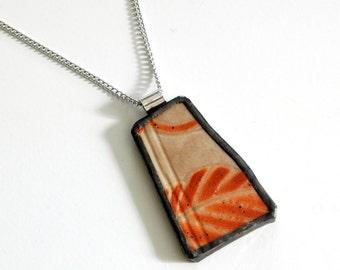 Broken China Jewelry Pendant - Orange and Brown Japanese