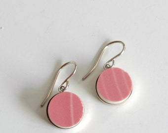SALE - Simple Circle Sterling Silver Recycled Plate Earring -  Pink - Recycled China