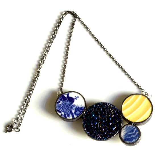 Modern Circles Necklace - Blue White and Yellow - Recycled China