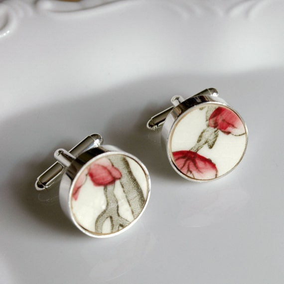 Recycled Plate Silver Plated Cuff Links - Black White and Red - Recycled China