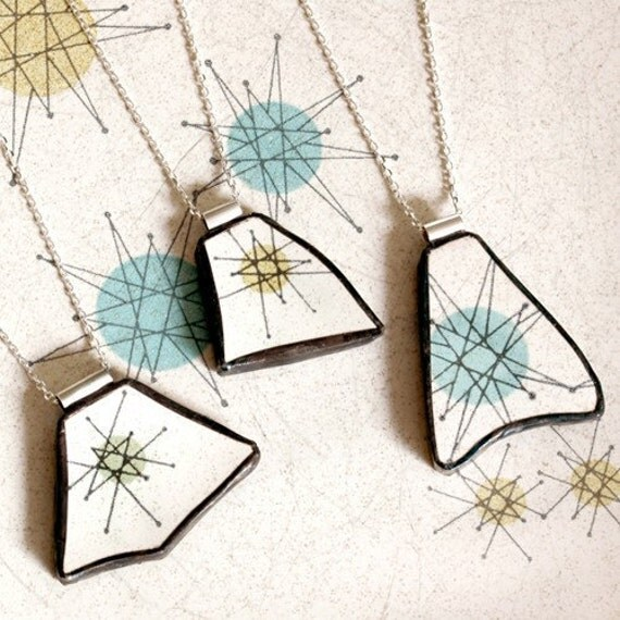 Custom Broken Plate Pendants on Chains from YOUR Broken Plate - Recycled China