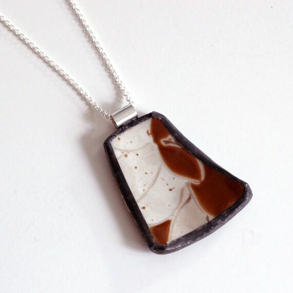 Broken China Jewelry Pendant - Brown Japanese Pattern